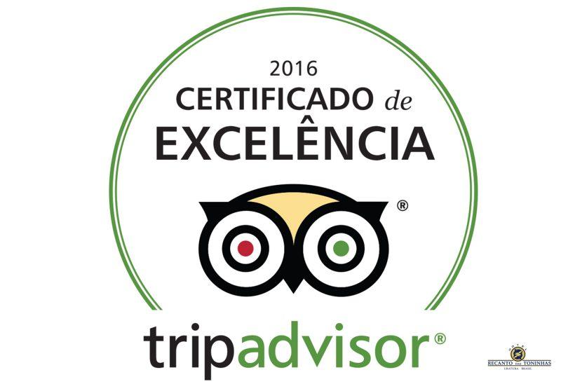 Recanto das Toninhas: Certificado de Excelência TripAdvisor 2016